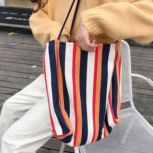 정말예뻐 에코백 스트라이프 천가방 숄더백 레드 주황 줄무늬 화려한