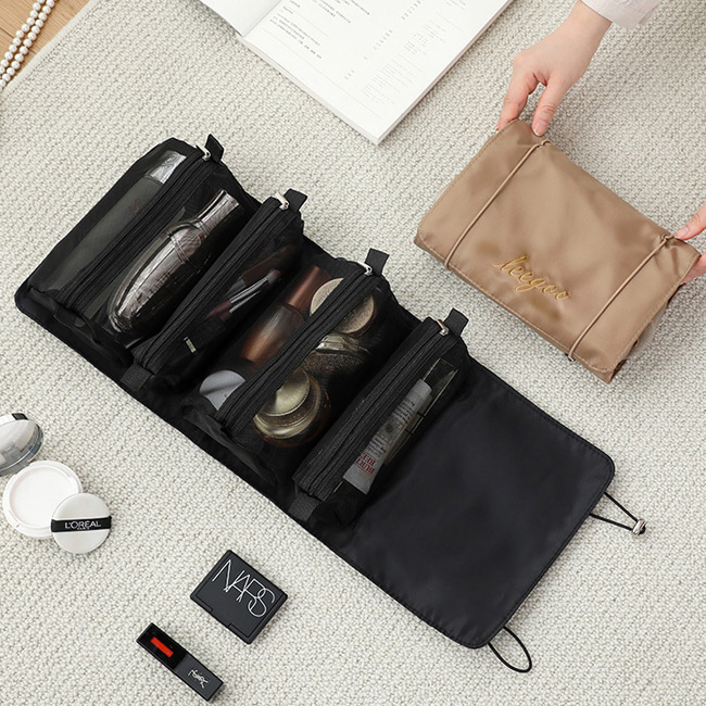 여행용 소품 정리 화장품 파우치 벨크로 지퍼 다용도 미니 수납 가방